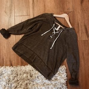 Lace Up Pullover Sweatshirt